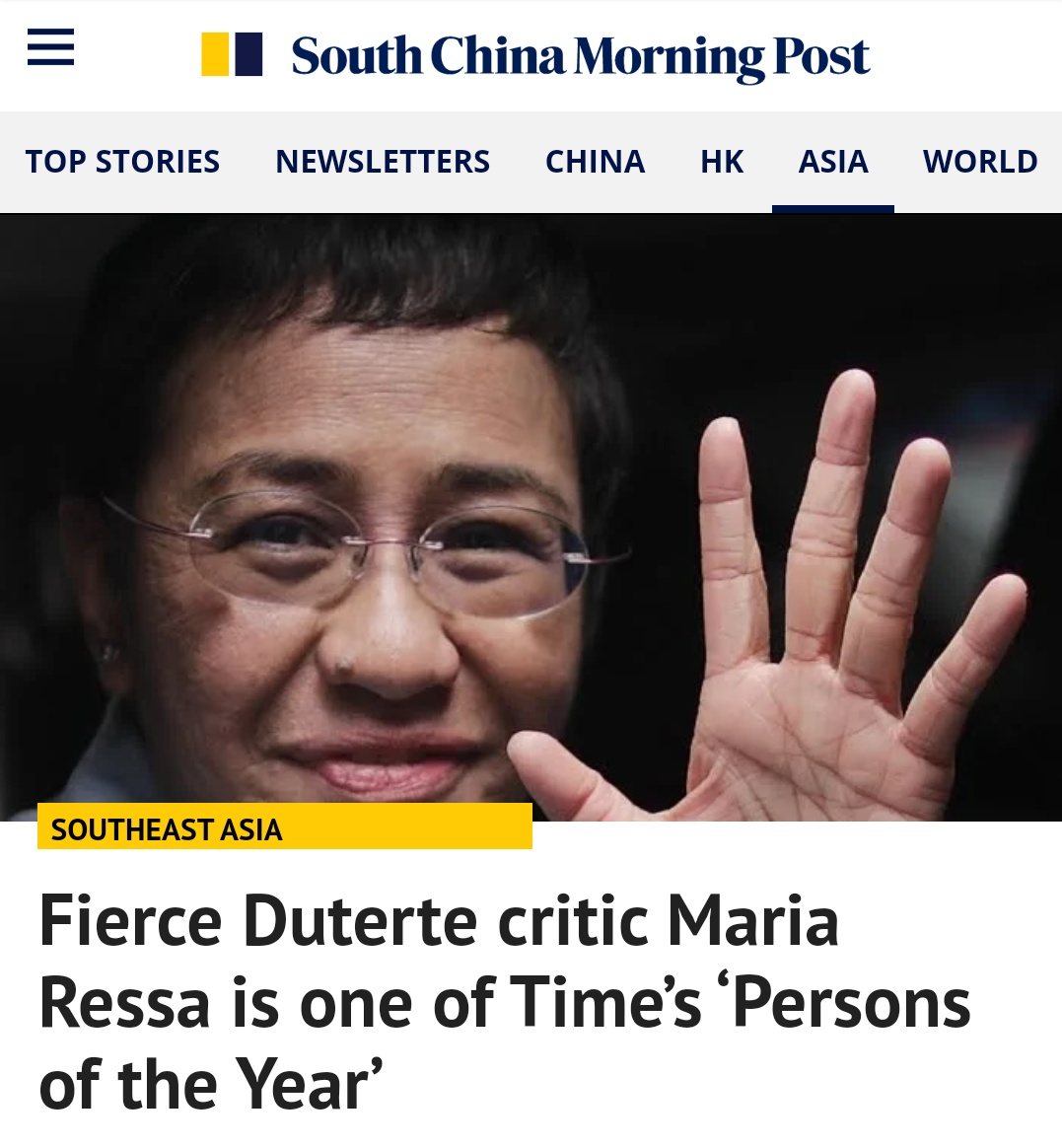 Look… SCMP published fake news about Maria Ressa's arrest…